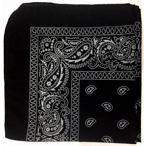 Şal Desenli Siyah Bandana